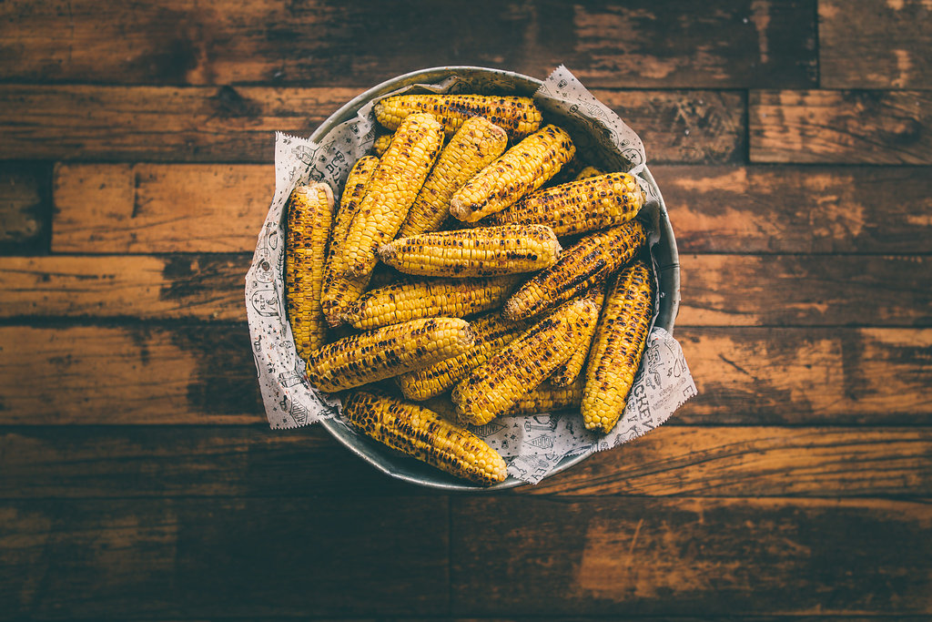 Bowl of fire roasted corn
